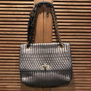 Lanvin Metallic Grey Happy Shoulder/Crossbody Bag